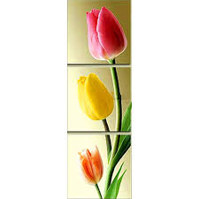 3d diy 3pc set red tulips diamond painting triptych high end home decoration full