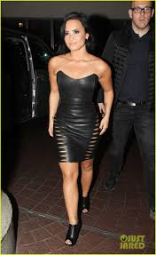 demi lovato rocks tight leather dress in london
