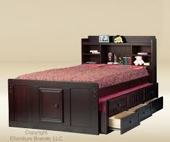 Full Trundle Bed With Bookcase Headboard