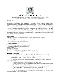 Sample Resume For Entry Level Software Tester Inspirationa Qa