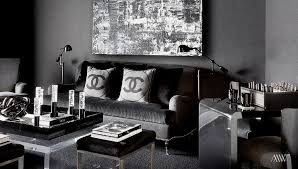 Contemporary Black Living Room Furniture Features Chanel Pillows