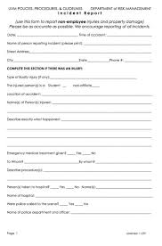 Injury Report Form Template Free Incident Reporting Environmental ...