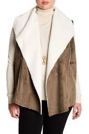 Faux Suede Faux Shearling Lined Vest Plus Size