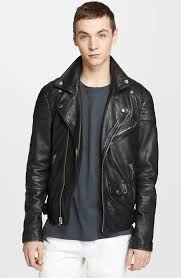 model yuri pleskun wears blk dnm leather moto jacket