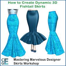 Mermaid Skirt Pattern Enchanting MD48 Workshop How To Make Dynamic 48D Marvelous Designer Fishtail