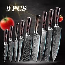 XYj 9pcs Japanese <b>Kitchen Knives Damascus</b> Knife Sets <b>Laser</b> ...