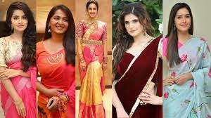 Most Beautiful South Indian Actresses In Sarees || Tollywood Actress -  YouTube