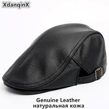 <b>SILOQIN Men's</b> Cowhide <b>Genuine</b> Leather Hat NEW Autumn <b>Winter</b> ...