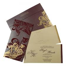 Wedding Card Design Purple Shimmery Floral Themed Screen Printed Wedding Card D