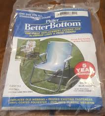 vtg aluminum lawn chair replacement cover reweb phifer better bottom blue stripe