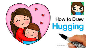 How To Draw Hugging Mom Easy Youtube