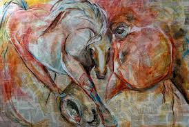 lady c mixed media on canvas abstract horse painting by texas equine artist laurie pace by