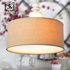simple wood pendant lamp linen fabric shade hanging lights led e27