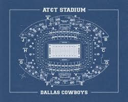 Dallas Cowboy Seating Chart New Stadium Print Of Vintage Dallas Cowboys At T Stadium Seating Chart Seating Chart On Photo Paper Matte Paper Or Canvas