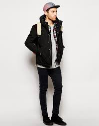Lyst - Asos Quilted Jacket With Contrast Shoulder Patch in Black ... & Gallery Adamdwight.com