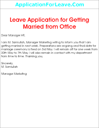 Application For Leave To Manager Leave Application For My Own Marriage Ceremony