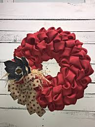 Rustic Patriotic Wreath, Patriotic Wreath, Burlap Patriotic Wreath ...