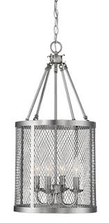 akron brushed pewter wire mesh drum foyer light 12 wx24 h