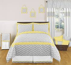 Bedroom. Kids Bed Room With Yellow And Grey Chevron Bedding Sets Also  Curtain Plus Cushion On Rattan Basket Placed On Brown Laminate Wooden Floor  With Grey ...