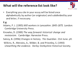 "harvard referencing"" ppt  what will the reference list look like"