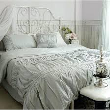 ruffled bedding sets whole bed in a bag vintage cotton solid color white grey ruffled