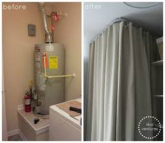 ikea kvartal ceiling mounted curtain track system to hide the water heater