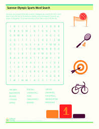 Summer Word List Summer Olympic Sports Word Search Worksheet For 3rd 5th