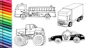 Vehicles Collection Drawing And Coloring For Kids Police Car Fire
