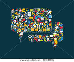 bubbles form business icons grouped dialog bubbles form stock vector 627009605