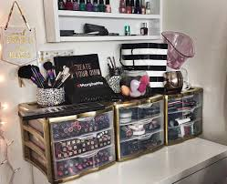 Makeup station with upgraded plastic drawers