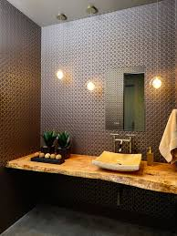 mid sized contemporary concrete floor powder room idea in other with a vessel sink