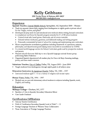 ... cover letter Resume Examples Teaching Resume Objective Teacher Sample  Objectives For Teachers Experience As Spanish In