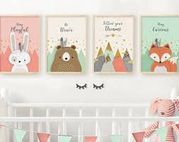 Neutral nursery prints, Nursery print, Set of 4, Woodland nursery prints,  Forest