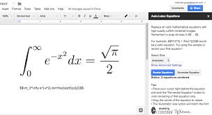 auto latex equations in google docs