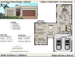 2 bedroom 2 car garage house plan small