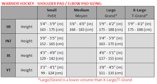 Youth Hockey Shoulder Pads Size Chart Hockey Shoulder Pad Elbow Pad Size Chart Warrior