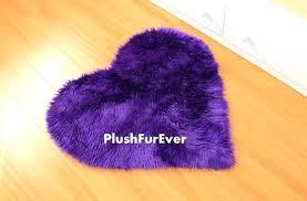image 0 purple faux fur rug heart shape