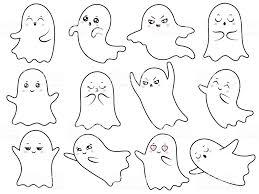 かわいい可愛いゴースト不気味なハロウィーンの幽霊幽霊とブー顔文字怖い