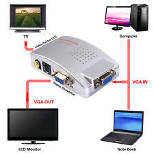 monitor av adapters converters computer vga to tv rca composite converter adapter s video box pc laptop lcd ou