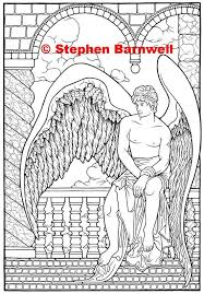I've slowly, slowly been creating coloring pages with christian symbols. Angel Coloring Pages Angelic Art Angel Coloring Etsy