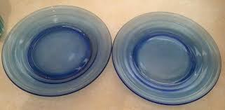 cobalt blue glass plates details about vintage set of 2 ribbed cobalt blue glass plates 7