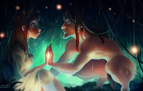 Wallpaper girl, fireflies, rain, art, guy, Tarzan, kelogsloops, tarzan, jane  porter images for desktop, section фильмы - download