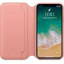apple leather folio soft pink for iphone x