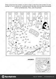 Pagina Van Het Punt Naar Dot En Kleuren Met Muizen En Kaas