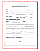 babysitter information sheet printable free printable baby sitters checklist for moms