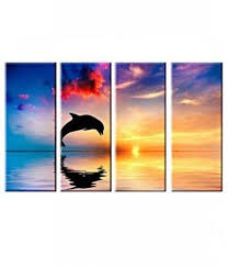 magideal 4 panels dolphin canvas print wall art painting on dolphin canvas wall art with magideal 4 panels dolphin canvas print wall art painting price from