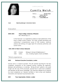 Cv Curriculum Vitae Student Sample For Marketing Manager In