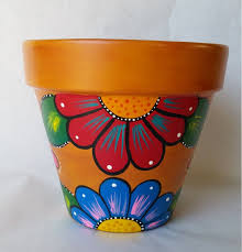 pottery hand painted flower pot rustic flower pot painted clay pot planter