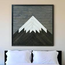 mountain wood wall art modern reclaimed mid century walnut lone rustic hanging