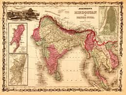 10 historical and trade route maps of southeast asia India Map Before 1600 1864 johnson and ward map of \u201chindostan; or british india\u201d india map before 1600